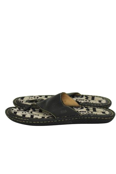Black Leather Toe Thong Sandals