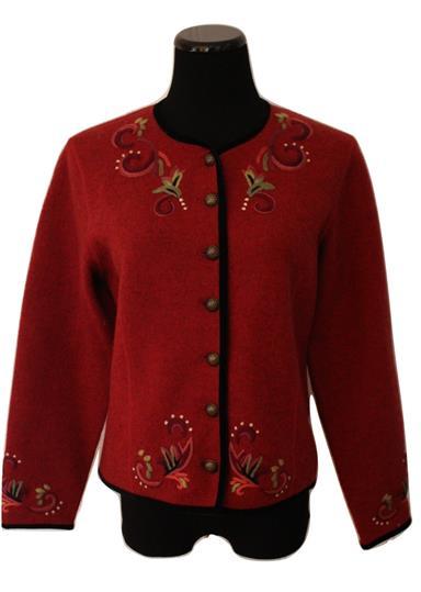 Wonderful Cranberry Nordic Cardigan Sweater Jacket Size S