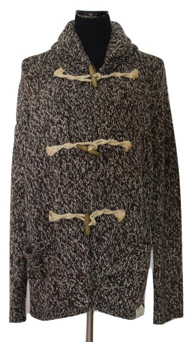 Fabulous Dark Brown Heathered Rope Toggle Sweater Size L