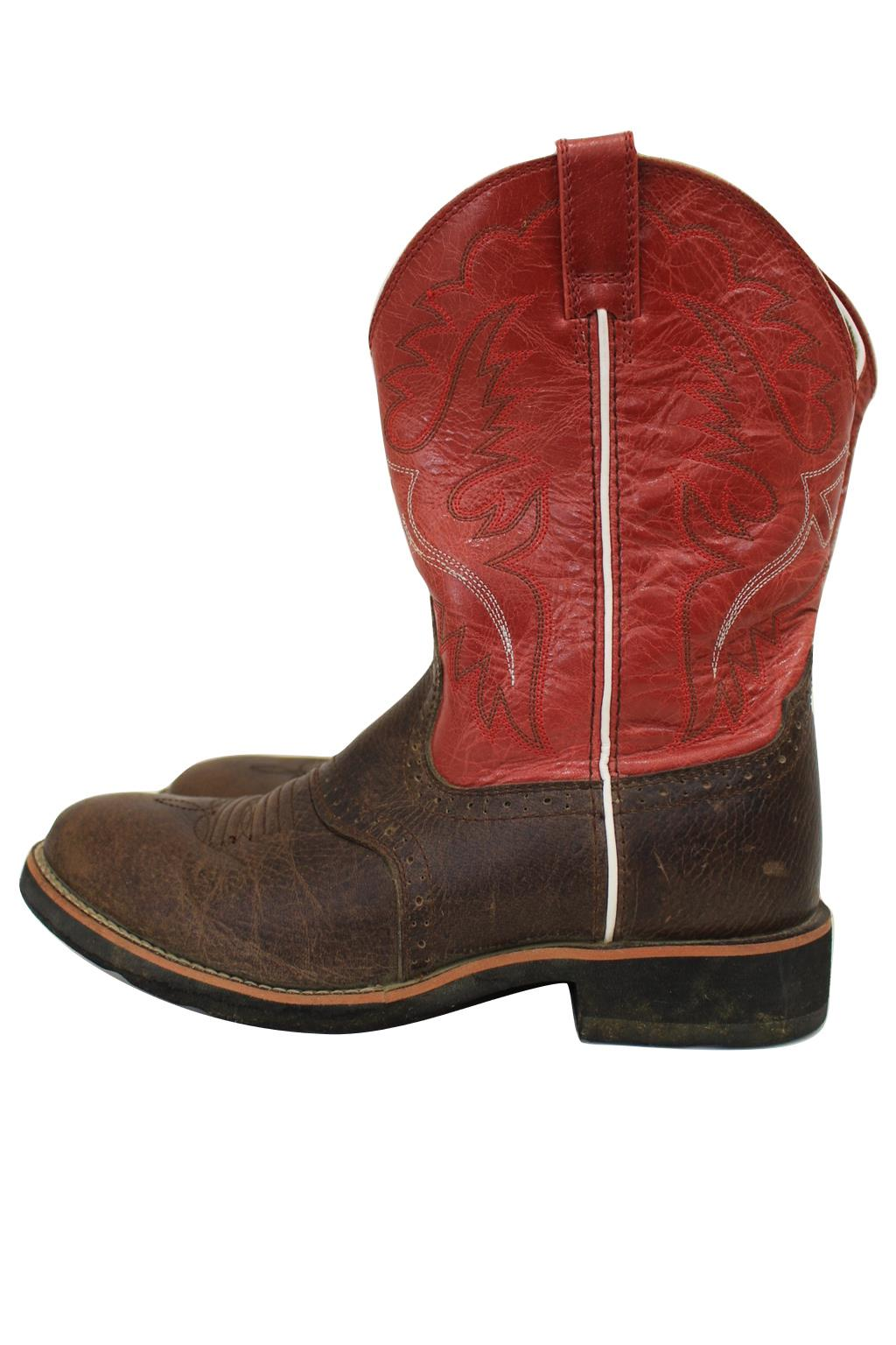 Brown & Red Leather Western Cowboy Boots 4Lr