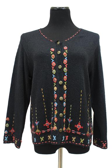 Black Silk Blend Cardigan Sweater Size L