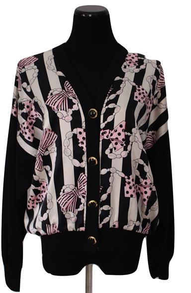 Bows And Pearls Silk & Santana Knit Cardigan Sweater Size M
