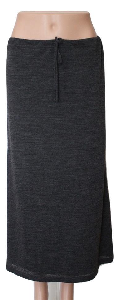 Gray Wool Blend Straight Drawstring Sweater Skirt Size S