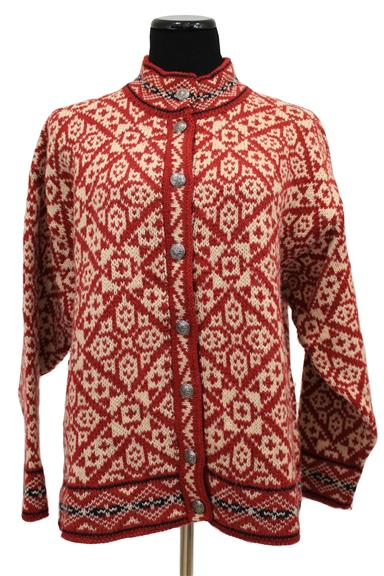 Kingston Wool Nordic Print Cardigan Sweater Size L