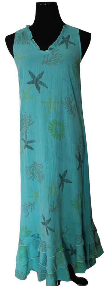 Nwt! Coral Reef Gauze Beach Dress In Neptune Blue Size M
