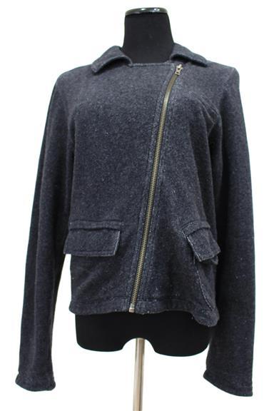 #775 Asymmetrical Zip Gray Jacket Size S