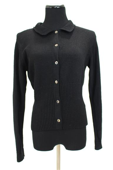 Black Santana Knit Ribbed Waist Cardigan Sweater Size M