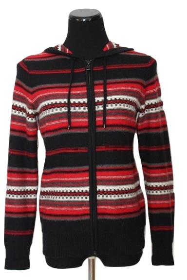 Striped Hooded Zippered Cardigan Sweater Size S