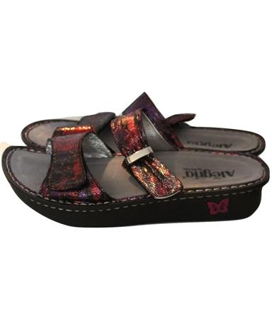 Alegria Purple Metallic Double Strap Sandals Size 41 10.5 11
