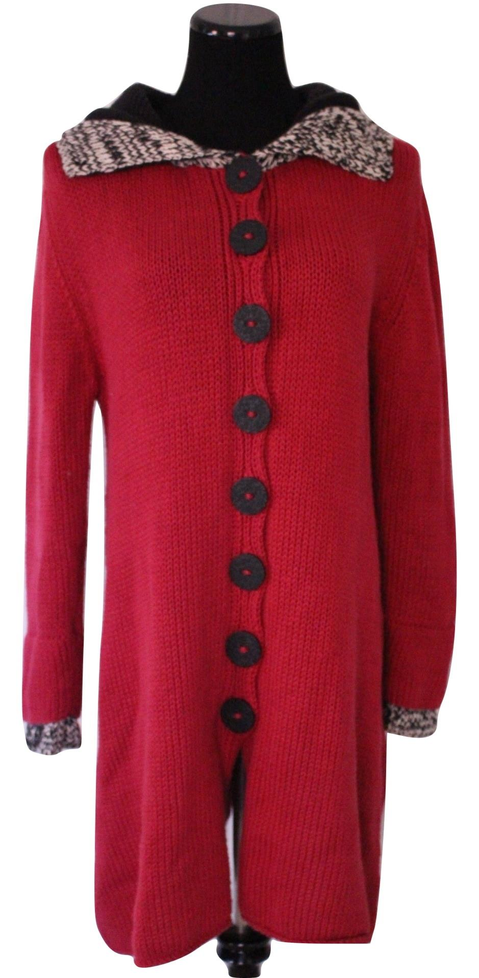 Fabulous Long Raspberry Hooded Cardigan Sweater Size Xl