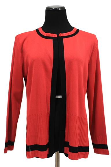 Red With Black Trim Open Front Cardigan Sweater Size Pl L