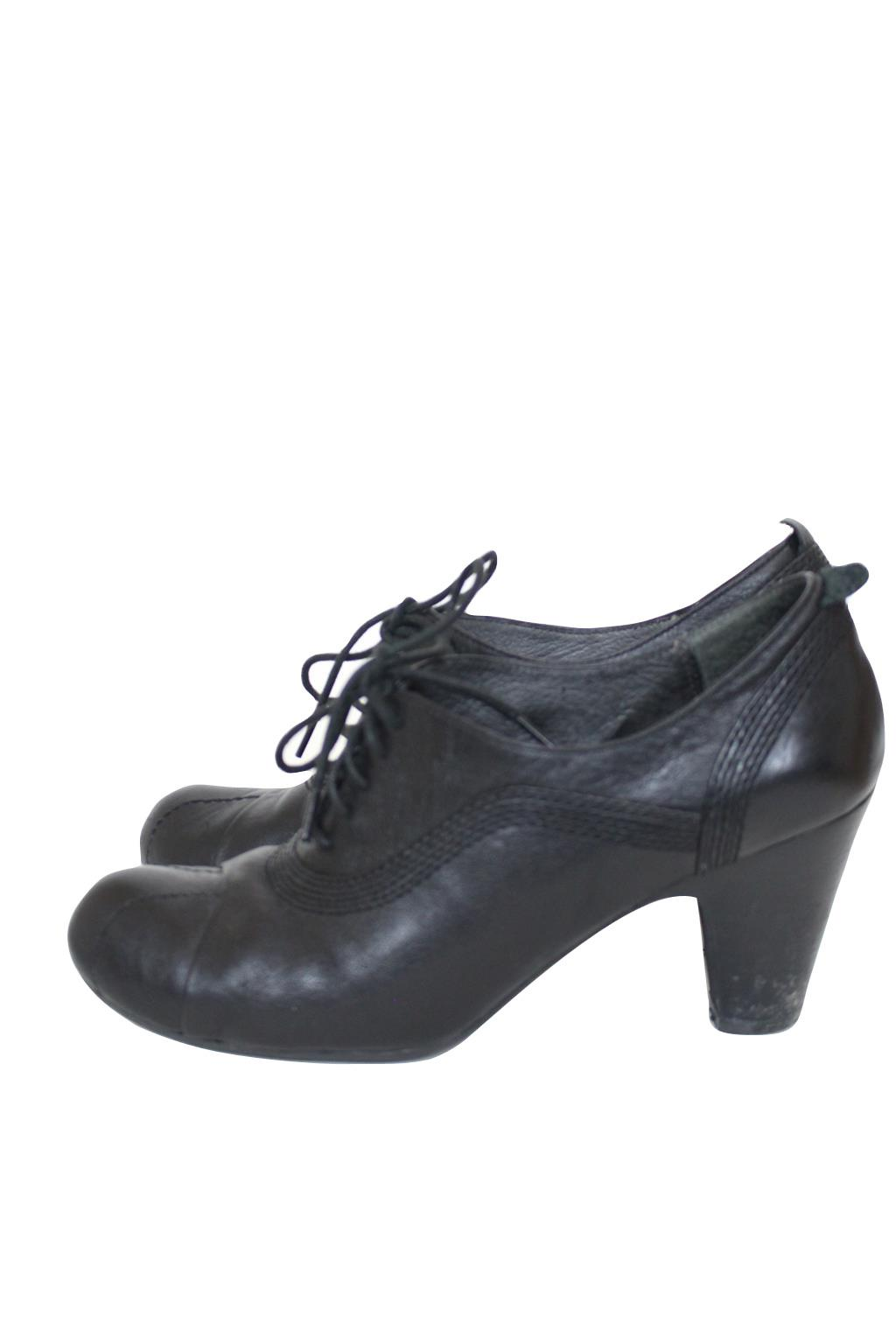 anthropologie black leather lace up booties pumps shoes