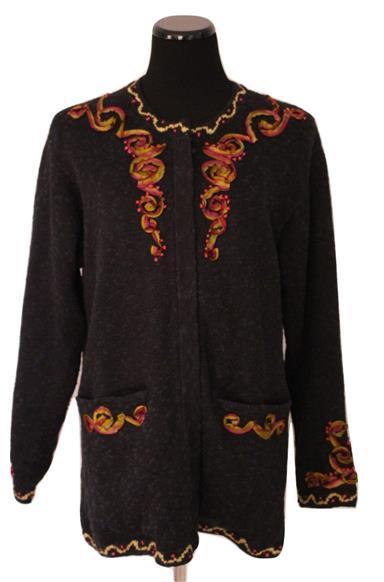 Fabulous Linen Blend Fully Lined Cardigan Sweater Coat Size L