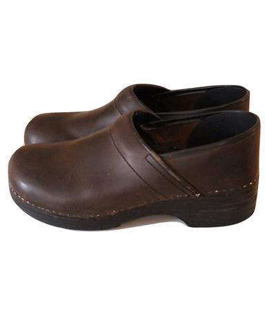Bomber Jacket Brown Leather Clogs Nurse Chef Shoes Size 39 8.5