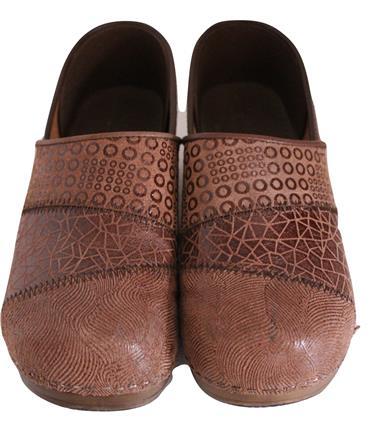 Fun Leather Patchwork Danish Clogs Nurses Chef Shoes Size 40 9