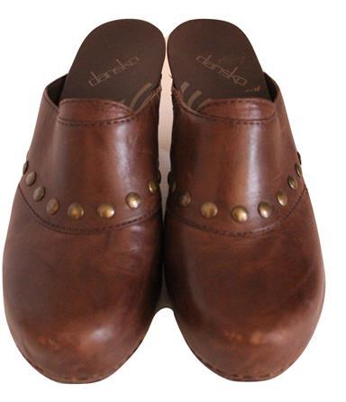 "Dansko ""Rudy"" Brown Leather Mules Clogs Slip In Size 37 6.5"