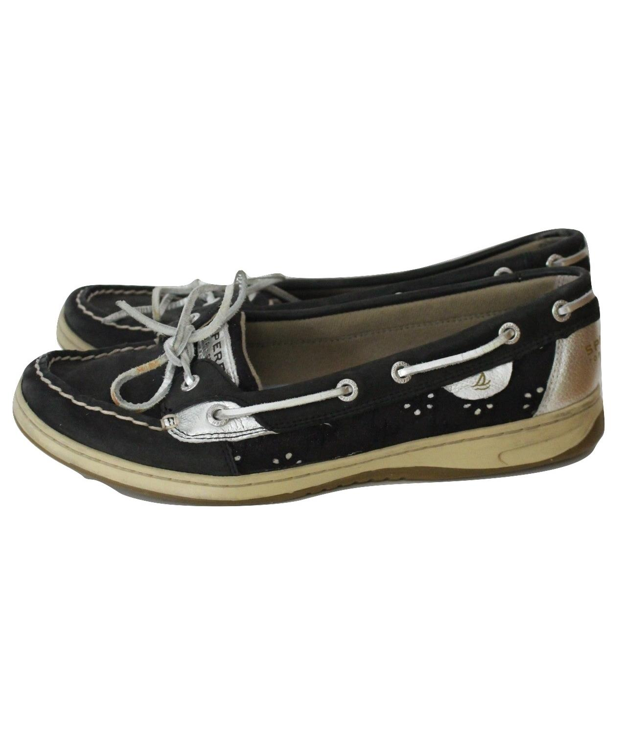 quot angelfish quot black leather eyelet deck shoes womens size 10